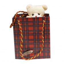 """Шарманка """"Мишутка"""" шотландка в подарочном пакете"""