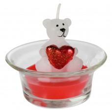 """Свечка """"Белый мишка с сердцем"""" красная"""