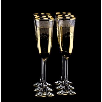 Набор для шампанского с позолотой (6 бокалов)