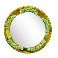 Зеркало круглое с фарфоровым украшением 38 см