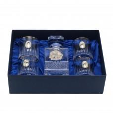 Набор из 5-ти предметов Графин с орлом и 4 стакана с платиной для воды и виски с овальными накладкам