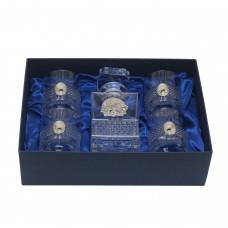 Набор из 5-ти предметов Графин со Львом и 4 стакана Brillante для воды и виски с овальными накладкам