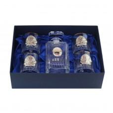 Сет для виски с платиной Boss Crystal «ДИРЕКТОРСКИЙ КВИНТА», графин, 4 бокалов, серебро
