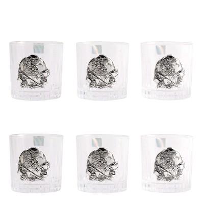 """Сет хрустальных стаканов Boss Crystal """"БОКАЛЫ ГЕНЕРАЛЬСКИЕ """", 6 бокалов, серебро"""