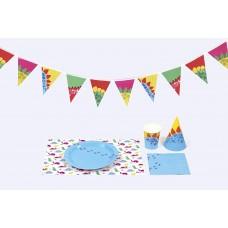 Набор для празднования Dino (салфетки, посуда, чашки, шляпки, гирлянда)