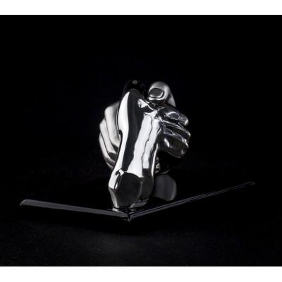 Статуэтка «Рукопожатие» серебро матовое на черной деревянной подставке