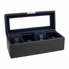 Шкатулка для хранения часов Friedrich Lederwaren Bond 4, черно-синий