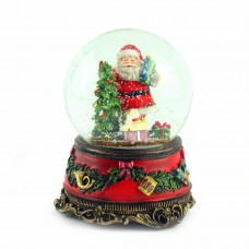"""Снежный шар музыкальная шкатулка """"Санта с ёлкой"""", 15 х 11 см"""