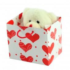 Мишка белый плюшевый в подарочной упаковке