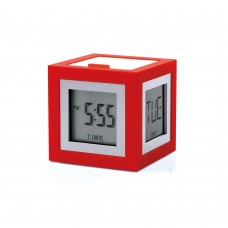 Будильник-термометр Lexon Cubissimo, красный