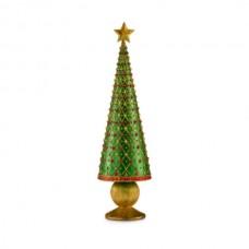 """Статуэтка """"Новогодняя елка"""" золотая с зеленым, 33 см"""