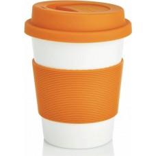 """Эко-кружка с силиконовой крышкой """"Ритм города"""", оранжевая"""