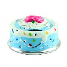 "Копилка ""Торт"", голубая 14 х 9 см"