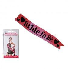 """Лента для девишника """"Bride to be""""/розовый/черный"""