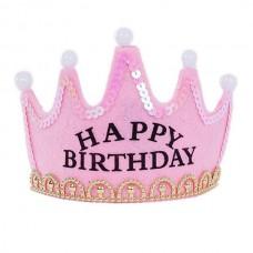 "Корона с подсветкой ""Happy Birthday"", розовая"