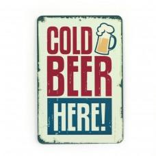 """Магнит винтаж """"Cold beer here"""", металл, 10 х 8 см"""