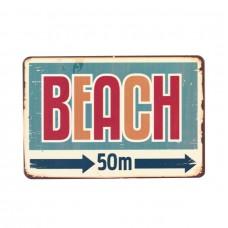 """Магнит винтаж """"Beach"""", металл, 10 х 8 см"""