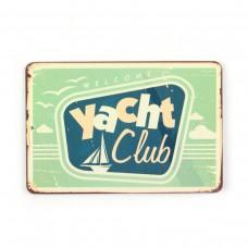 "Магнит винтаж ""Yacht club"", металл, 10 х 8 см"
