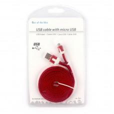 Кабель для Android устройств с micro USB, красный