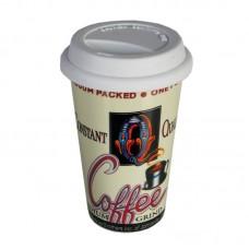 """Фарфоровая кружка с силиконовой крышкой """"Q coffe"""" 16 х 10 см"""