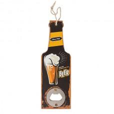 """Открывашка """"Бутылка""""с деревянной ручкой, черная 20 см"""