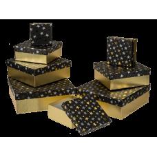 """Коробка подарочная черная """"Звезды"""", 16 см"""