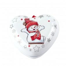 """Коробка-сердце """"Снеговик"""" 9 x 8 см"""