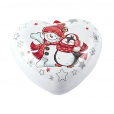 """Коробка-сердце """"Снеговик и пингвин"""" 9 x 8 см"""