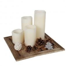 Набор рождественский: подставка и 4 LED свечи