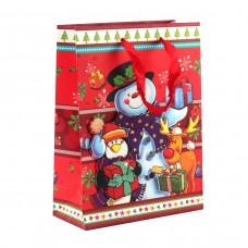 "Пакет бумажный ""Christmas"" снеговик, 18 х 8 х 24 см"