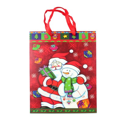 "Пакет бумажный ""Christmas"" дед мороз и снеговик, 18 х 8 х 24 см"