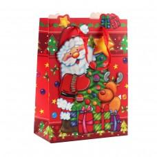 "Пакет бумажный ""Christmas"" дед мороз и олень, 18 х 8 х 24 см"