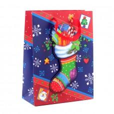 """Пакет бумажный """"Christmas"""" носок, 18 х 8 х 24 см"""