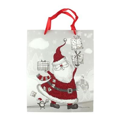 """Пакет бумажный """"Santa Claus с подарками"""" 26 x 32 см"""