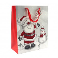 """Пакет бумажный """"Santa Claus и снеговик"""" 26 x 32 см"""