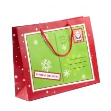 """Пакет бумажный """"Christmas"""" 32 х 26 см, красно-зеленый"""