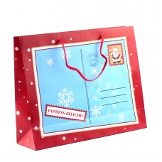 "Пакет бумажный ""Christmas"" 32 х 26 см, красно-голубой"