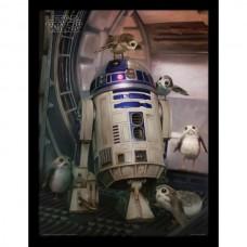 Постер в раме Star Wars The Last Jedi (R2-D2 & Porgs) / Звёздные войны 30 х 40 см