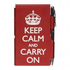 Карманный блокнот с ручкой Troika Keep calm