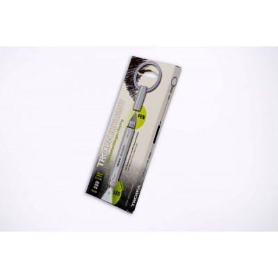 Фонарь-брелок с шариковой ручкой Keylight, металл, серебристый