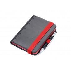 """Блокнот """"DIN A7 LILIPAD"""" + ручка """"LILIPUT"""" черный/красный"""