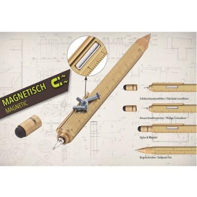 Ручка шариковая-стилус Troika Construction Magnet с линейкой, магнитом и отверткой, золотая