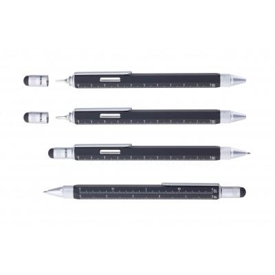 Ручка шариковая-стилус Troika Construction Magnet с линейкой, магнитом и отверткой,  черная