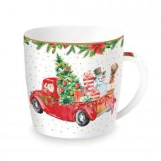 "Чашка ""Время Рождества Санта и Снеговик"" , фарфор"