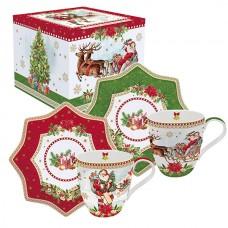 """Набор из двух чашек и блюдечек """"Винтажное Рождество"""""""