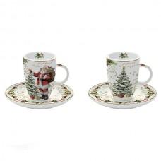 """Набор две кофейные чашки """"Волшебное рождество"""", фарфор"""