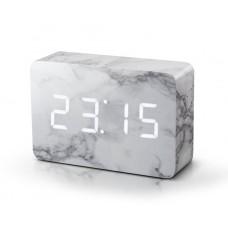 "Смарт-будильник с термометром ""BRICK"", белый мрамор"