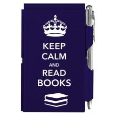 Карманный блокнот с ручкой Keep Calm and read books