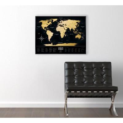 Скретч карта мира Travel Map Black World в раме  40 х 60 см