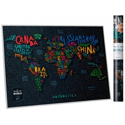 Скретч карта мира Travel Map Letters World (англ) в тубусе